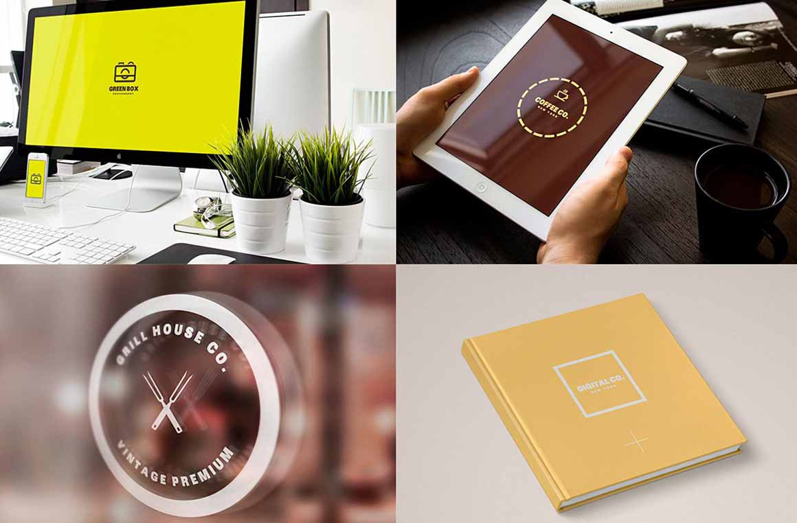 ivairaus stiliaus logotipu kurimas ir vizualizacijos